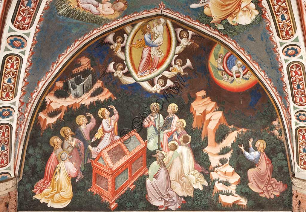 """Rocca di Vignola, Cappella Contrari, parete meridionale: """"Assunzione della Vergine """" (Gesù porta Maria in cielo) e """"Consegna del cingolo a Tommaso"""", affresco del Maestro di Vignola, anni Venti del Quattrocento."""