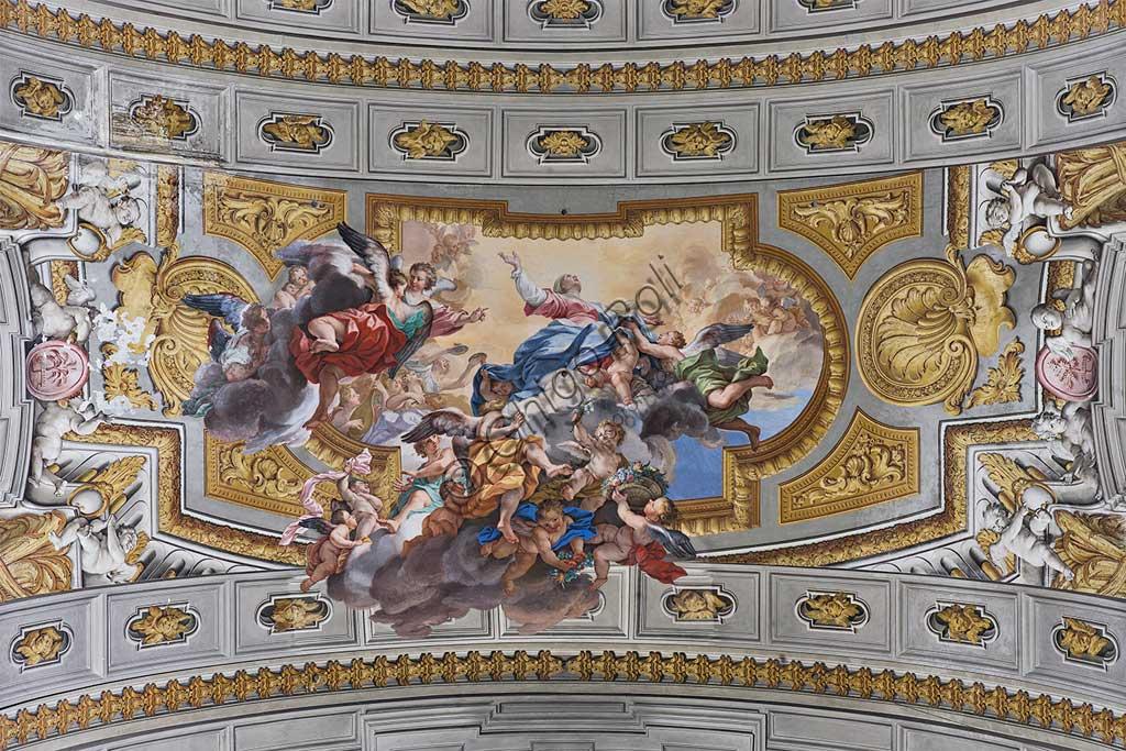 """Rome, S. Ignazio Church, interior, transept: """"Assumption of Mary"""", fresco by Ludovico Mazzanti."""