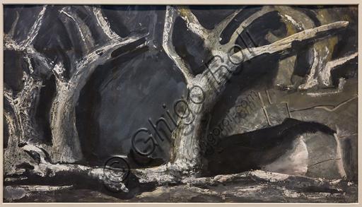 """Museo Novecento: """"Atto primo per Don Carlos, di G. Verdi"""", di Mario Sironi, 1950. Matita grassa e tempera acquarellata su cartoncino."""