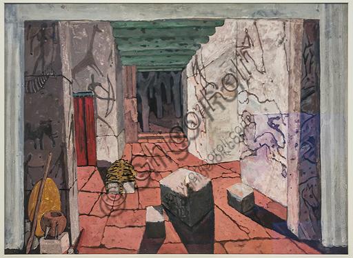 """Museo Novecento: """"Atto terzo per Norma, di Vincenzo Bellini"""", di Felice Casorati, 1935. Tempera su cartone."""