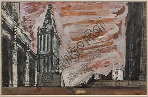 """Museo Novecento: """"Atto terzo, quadro secondo per Don Carlos, di G. Verdi"""", di Mario Sironi, 1950. Matita grassa e tempera acquarellata su cartoncino."""
