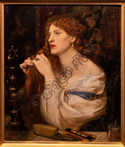 """""""Aurelia (Fazio's Mistress"""", (1863-73)  by Dante Gabriel Rossetti (1828-1882); oil painting on canvas.The red head of hair is beautiful. The subject is based on a poem by Fazio degli Uberti. The model is Fanny Cornforth."""