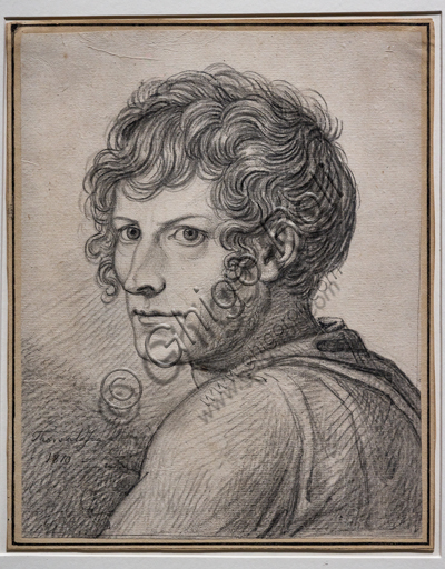 """Self portrait"", 1810, by Bertel Thorvaldsen (1770 - 1844), black chalk on paper."