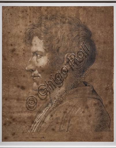 """Self portrait"", 1811, by Bertel Thorvaldsen (1770 - 1844), black chalk and white heightenings."