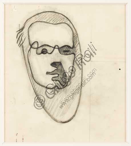 "Assicoop - Unipol Collection: Enrico Prampolini (1894 - 1956), ""Self Portrait 1930"". Pencil on paper."