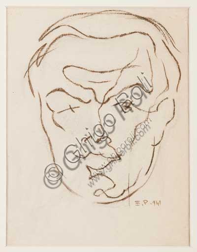 """Collezione Assicoop - Unipol, Inv. n. 420, Enrico Prampolini (1894 - 1956), """"Autoritratto 1941"""". Pastello su carta vergata."""