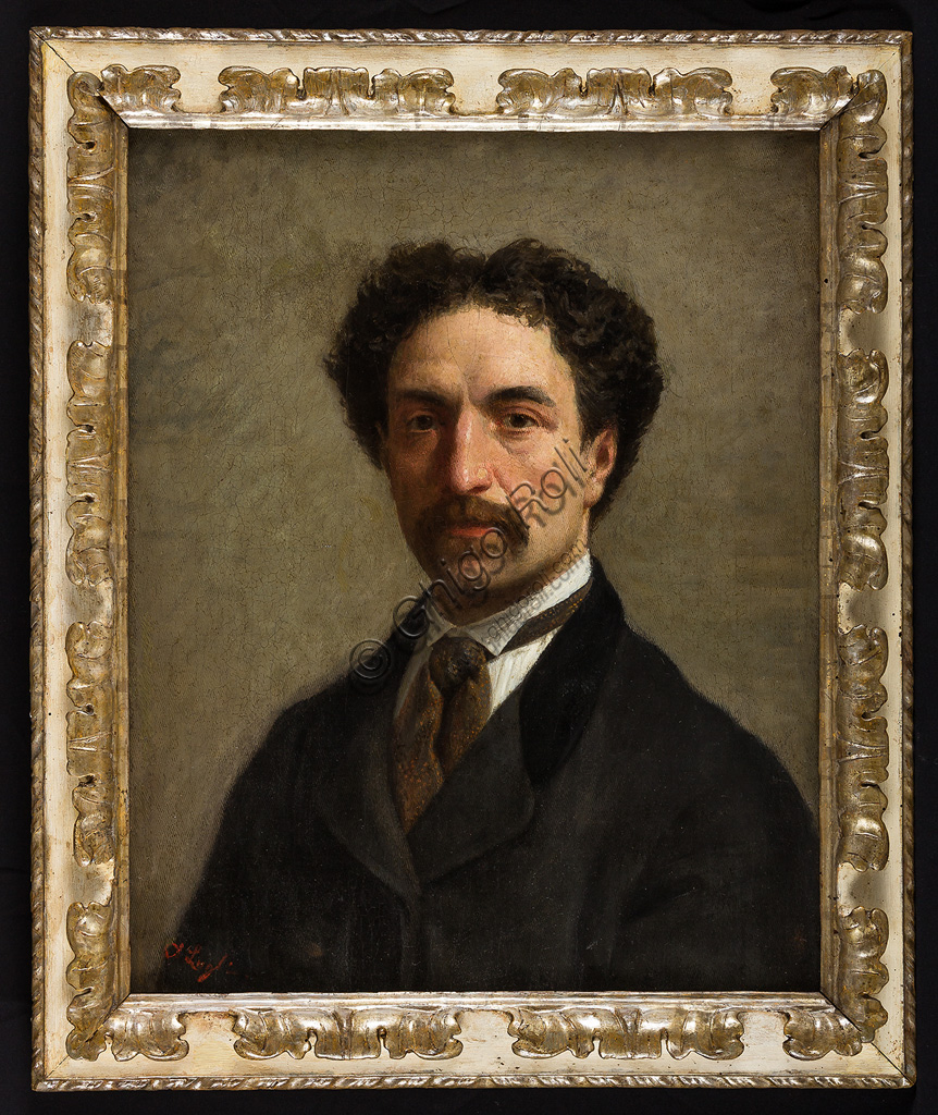"Assicoop - Unipol Collection:Albano Lugli (1834 - 1914): ""Self portrait"". Oil painting,  cm 46 x 56."