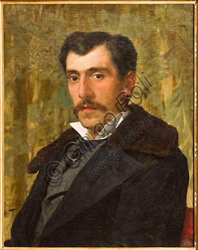 """Collezione Assicoop Unipol: Giovanni Muzzioli (1854 - 1894) """"Autoritratto"""". Olio su tela, cm. 52 x 65."""