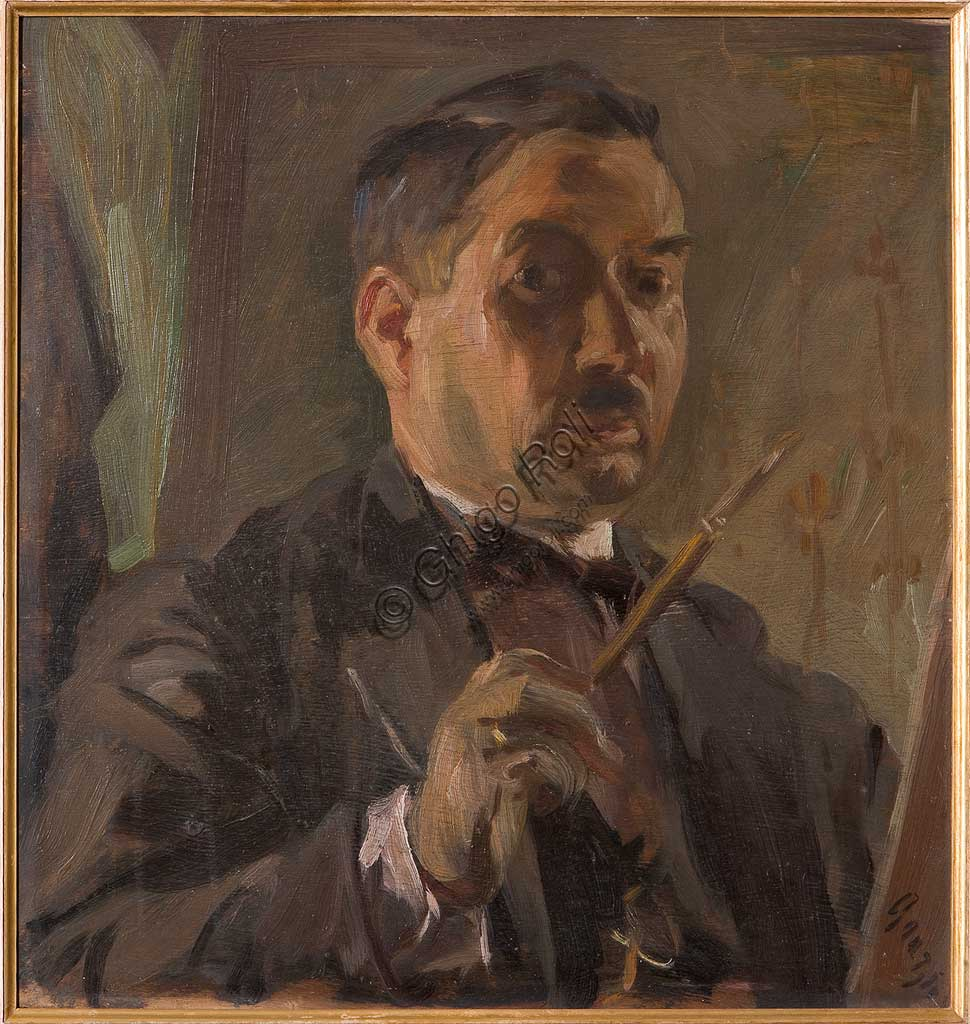 """Collezione Assicoop - Unipol: Giuseppe Graziosi (1879-1942), """"Autoritratto"""". Olio su compensato, cm. 54 x 52."""