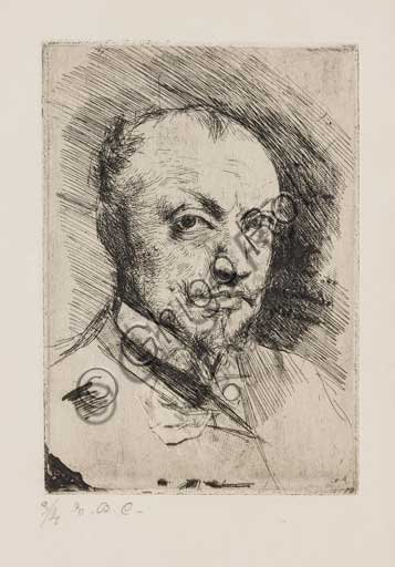 "Assicoop - Unipol Collection: Giovanni Boldini (Ferrara 1842 - 1931); ""Selfportrait""; drypoint."