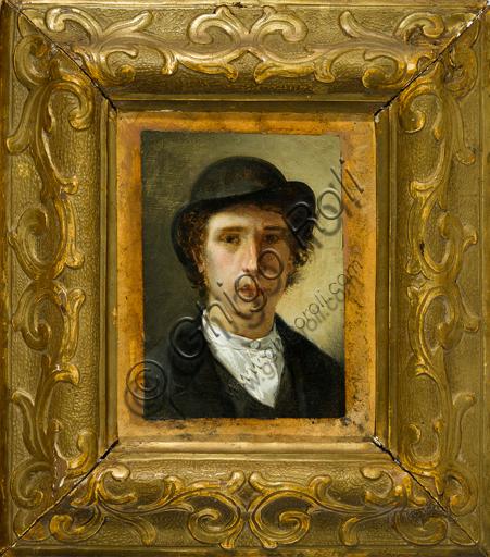 """Giovanni Muzzioli (1854 - 1894): """"Autoritratto"""" (olio su carta, 20 x 15,5 cm)."""