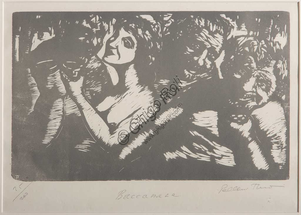 "Assicoop - Unipol Collection:  Tino Pelloni (1895 - 1981), ""Bacchanalia"", xylograph on paper."