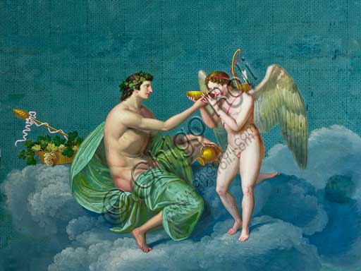 "Palermo, The Royal Palace or Palazzo dei Normanni (Palace of the Normans), The Royal Apartment, the Pompeiana Room: ""Bacchus and Cupid"", dry wall painting by Giuseppe Patania, about 1830."