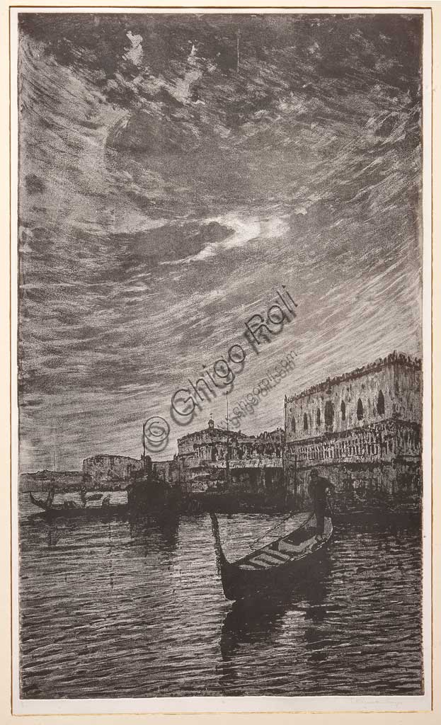 "Assicoop - Unipol Collection: ""St Mark's Basin"", etching  on white paper, by Giuseppe Miti Zanetti (1859 - 1929)."