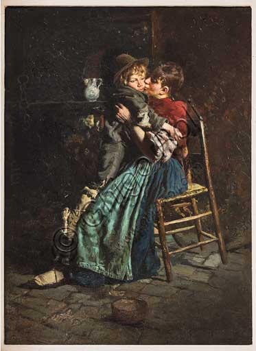 "Assicoop - Unipol Collection: Arnaldo Ferraguti (Ferrara 1862-1925); ""A Mother's Kiss"" ,Oil painting on canvas, 45 x 32,5."