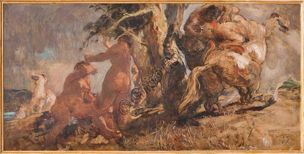 """Collezione Assicoop - Unipol: Giuseppe Graziosi (1879-1942),  """"Bagnanti con Centauro"""". Olio su compensato, cm. 50x100."""