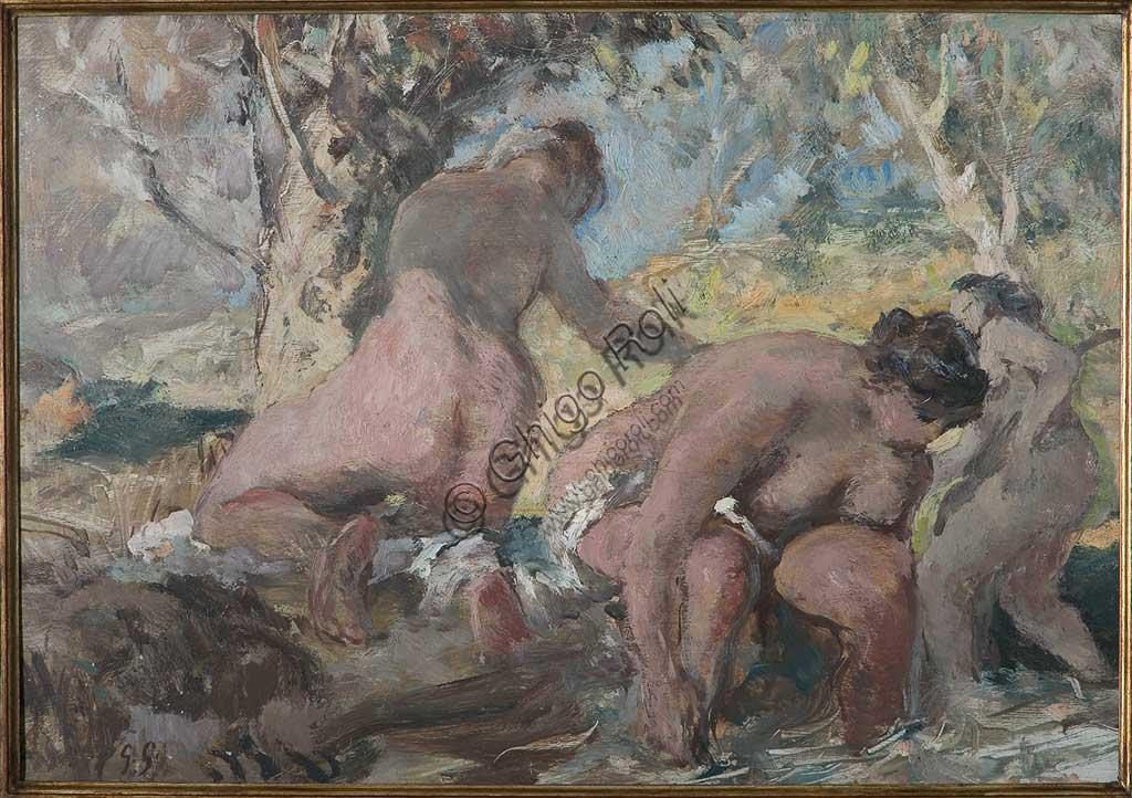 """Collezione Assicoop - Unipol: Giuseppe Graziosi (1879-1942), """"Le bagnanti"""", olio su compensato."""