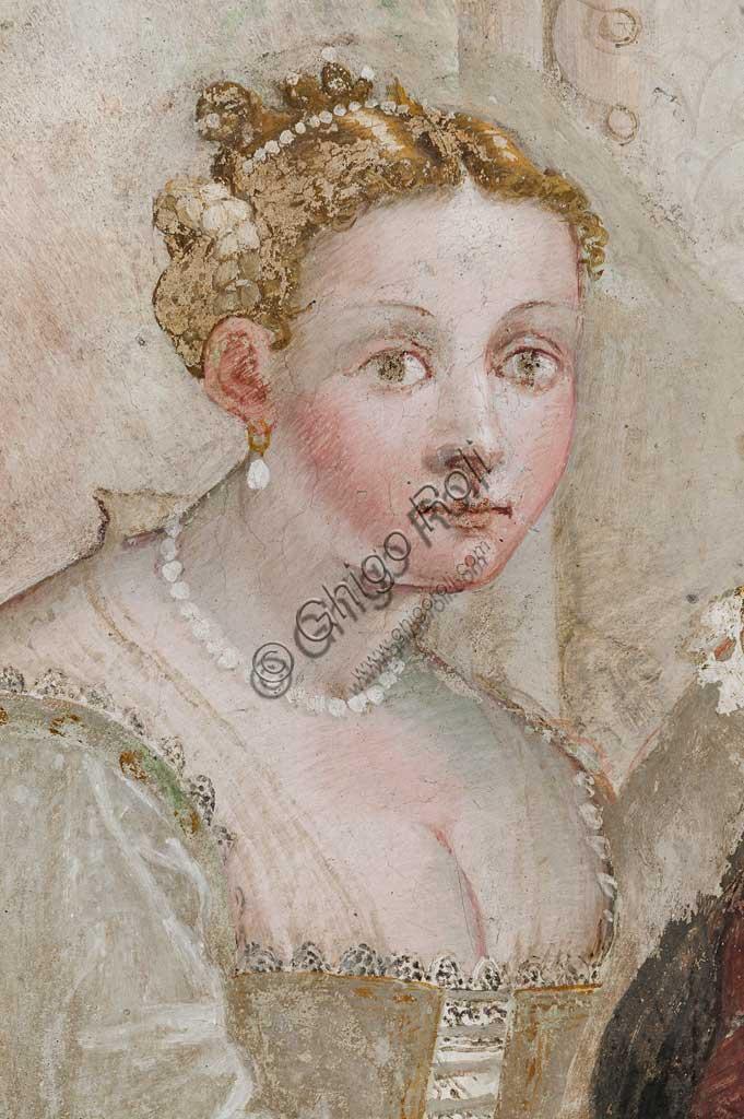 """Caldogno, Villa Caldogno, main hall: """"The Banquet"""". Fresco by Giovanni Antonio Fasolo, about 1570. Detail with Lady of Court."""