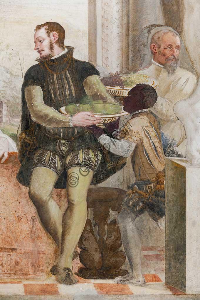 """Caldogno, Villa Caldogno, main hall: """"The Banquet"""". Fresco by Giovanni Antonio Fasolo, about 1570. Detail with knught and black servant."""
