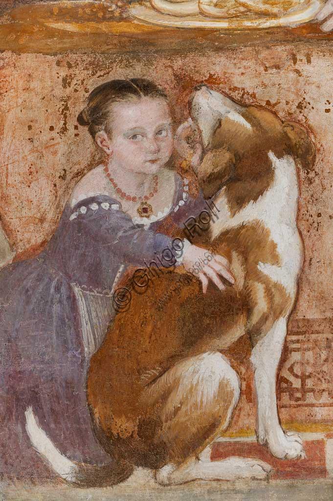 """Caldogno, Villa Caldogno, main hall: """"The Banquet"""". Fresco by Giovanni Antonio Fasolo, about 1570. Detail with female child and dog."""