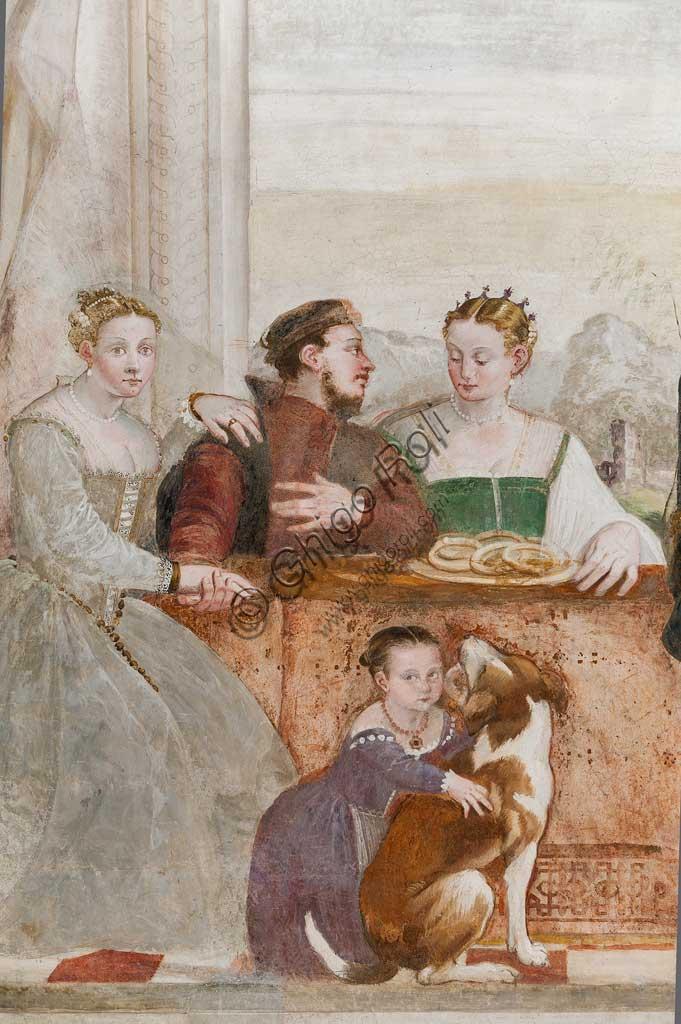 """Caldogno, Villa Caldogno, main hall: """"The Banquet"""". Fresco by Giovanni Antonio Fasolo, about 1570. Detail."""