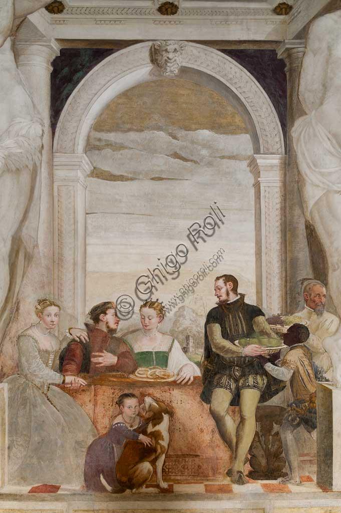 """Caldogno, Villa Caldogno, main hall: """"The Banquet"""". Fresco by Giovanni Antonio Fasolo, about 1570."""