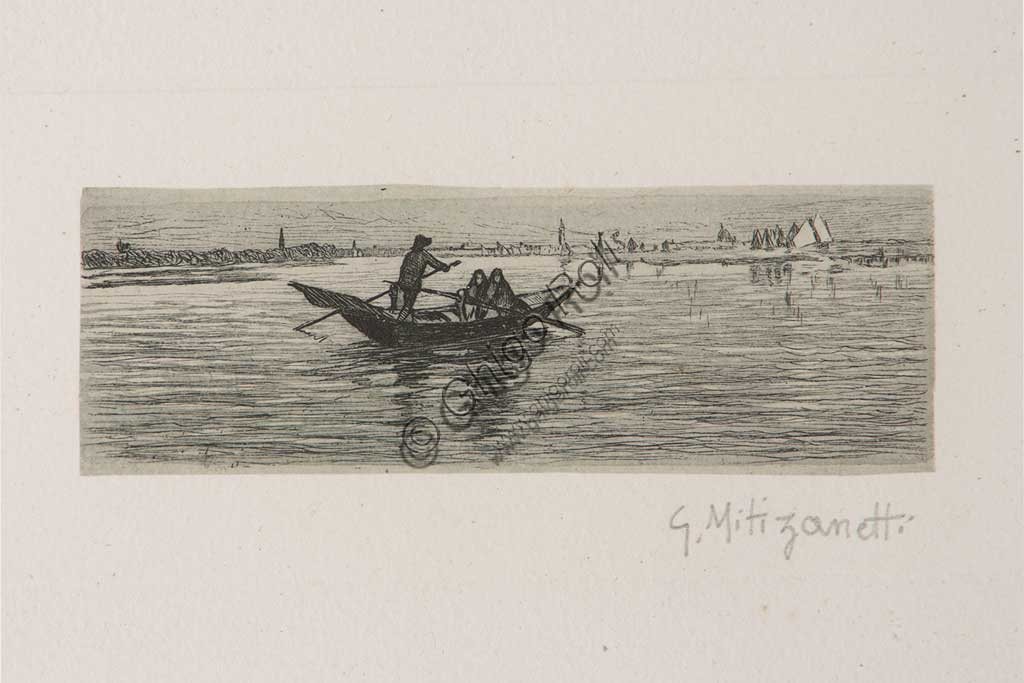 "Assicoop - Unipol Collection: ""The Boatman"", etching  on white paper, by Giuseppe Miti Zanetti (1859 - 1929)."