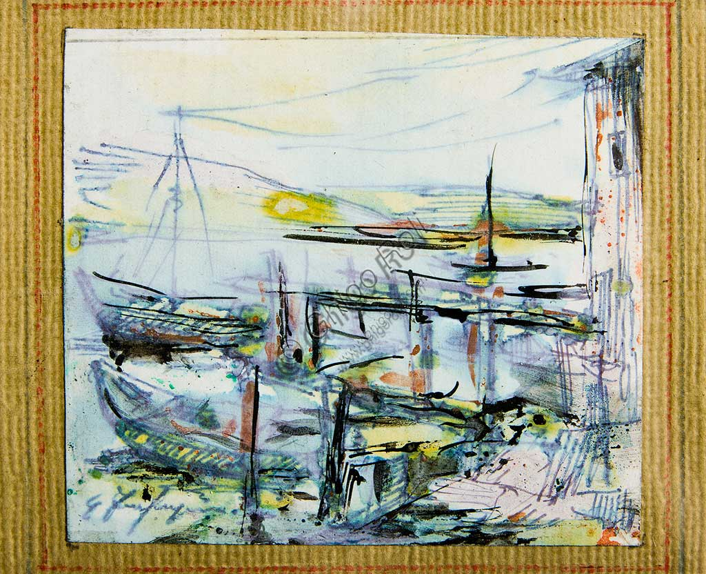 "Assicoop - Unipol Collection:  Ghigo Zanfrognini (1913 - 1995), ""Boats"". Watercolour and Indian ink drawing, cm 8x 9."