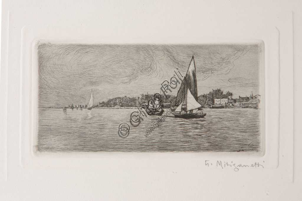 "Assicoop - Unipol Collection: ""Boats in the Lagoon"", etching  on white paper, by Giuseppe Miti Zanetti (1859 - 1929)."