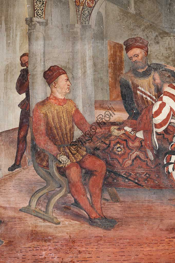 Cavernago, Malpaga Castle or Colleoni Castle, Hall of Honour: cycle of frescoes depicting the visit of Christian I of Denmark to Bartolomeo Colleoni, by Marcello Fogolino, (some historians attribute these frescoes to Romanino), 1474. Detail with Bartolomeo Colleoni sitting.