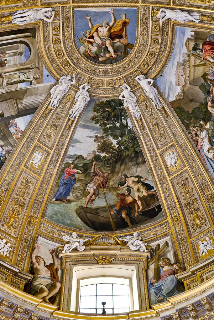 Basilica of St Andrew della Valle: view of the vault of the choir . Frescoes representing episodes of St. Andrew's life by Domenichino (Domenico Zampieri, 1622 - 1628.