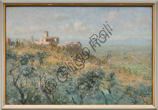 "Assicoop - Unipol Collection: Giuseppe Mentessi (Ferrara, 1857 - 1931), ""Basilica of St. Francis in Assisi"", oil paintin on panel."