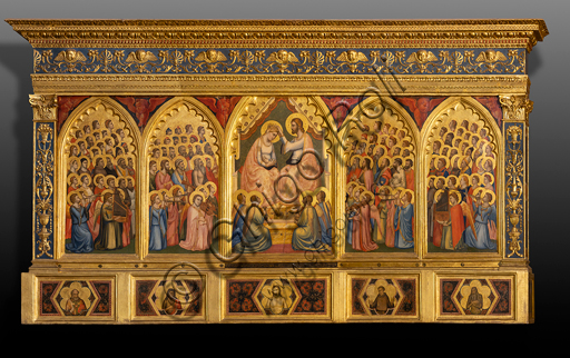 "Basilica of the Holy Cross, the Baroncelli Chapel: ""Baroncelli Polyptych with the Coronation of the Virgin, Saints in Glory and Angels playing Music"", by Giotto and Taddeo Gaddi."