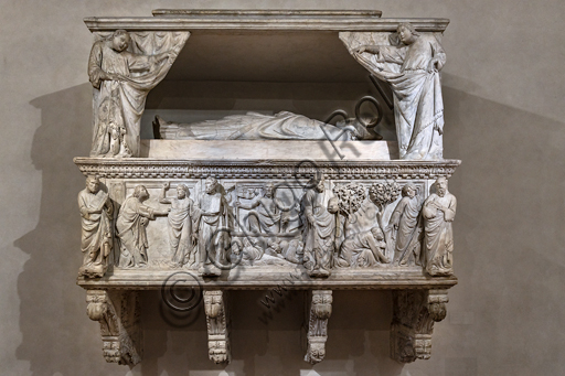 "Basilica of the Holy Cross: ""Funeral Monument of Gastone della Torre, Archbishop of Milan, later Patriarch of Aquileia"", 1318-9, by Tino di Camaino, white marble."