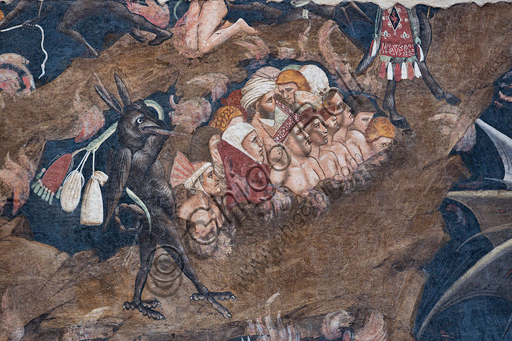"Basilica of the Holy Cross: ""Punishment of the Miser and the Wrathful and Satan devouring Judas, Brutus and Cassius"",  fragment from the cycle of detached frescoes ""The Triumph of Death, Last Judgement and Hell"", by Andrea Orcagna, about 1350,"