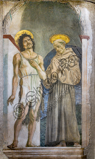 "Basilica of the Holy Cross: ""St. John the Baptist and St. Francis of Assisi"", by Domenico Veneziano, about 1450-60, detached wall painting of the Basilica."