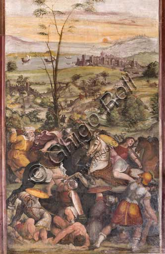"Rome, Villa Farnesina, Alexander's Room: ""Battle of Issus"", fresco by Sodoma (Giovanni Antonio de' Bazzi), 1519. Detail."