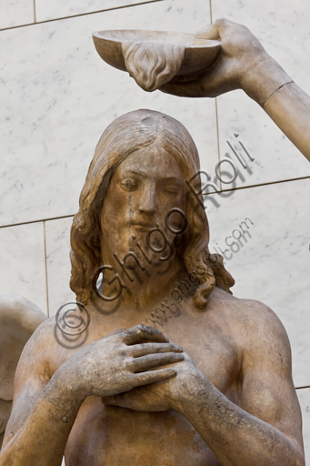 """Florence, Museum of the Opera del Duomo (Museum of Florence Cathedral of Santa Maria del Fiore): marble group of """"The Baptism of Christ"""" (coming from the east side of the Baptistery) by Andrea Sansovino (1467-1529), Vincenzo Danti (1530-1576). The angel is by Giuseppe Spinazzi (1726-1798). Detail with Christ and St. John the Baptist's hand."""