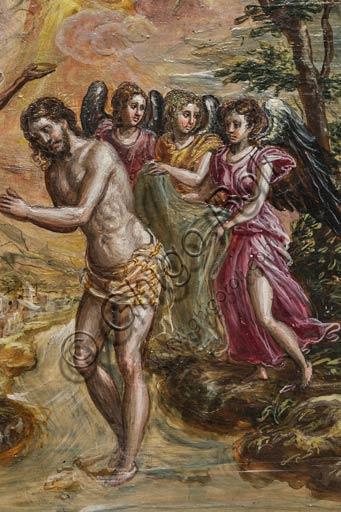 """Modena, Galleria Estense: altarolo portatile di Domenico Theotokòpoulòs detto El Greco (1541-1614). Tempera grassa su tavola, cm 37 x 23,8. Particolare dell'anta destra con """"Battesimo di Cristo"""","""