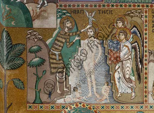 "Palermo, The Royal Palace or Palazzo dei Normanni (Palace of the Normans), The Palatine Chapel (Basilica), the nave, cycle of mosaics on the life of Jesus: ""The Baptism of Christ"", XII century."