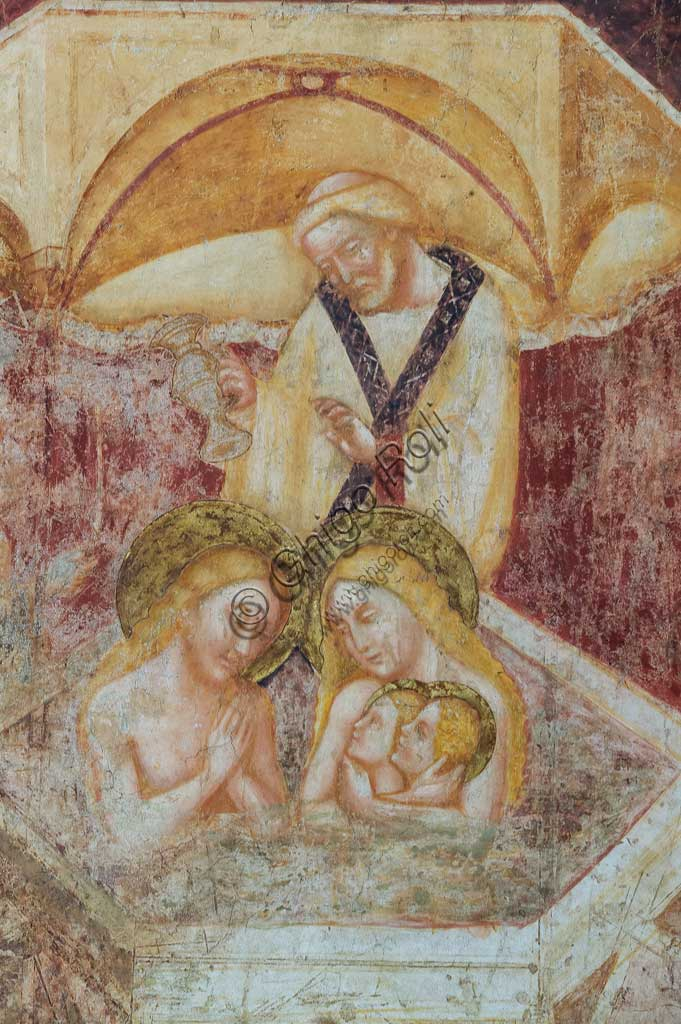 "Codigoro, Pomposa Abbey, interior of the Basilica of Santa Maria, apse: frescoes by Vitale da Bologna. Detail of the lower register with the ""Baptism of St. Eustace""."