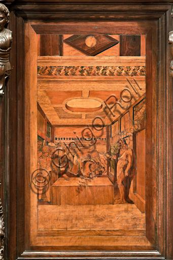 """Genova, Duomo (Cattedrale di S. Lorenzo), interno, abside, coro, lato nord: """"Il Battista rimprovera Erode"""", tarsia lignea di Giovanni Francesco Zambelli (secolo XVI)."""