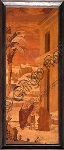 """Genova, Duomo (Cattedrale di S. Lorenzo), interno, abside, coro, lato nord: """"Il Battista si congeda dalla famiglia"""", tarsia lignea di  Vincenzo e Tommaso Garassino (secolo XIX)."""