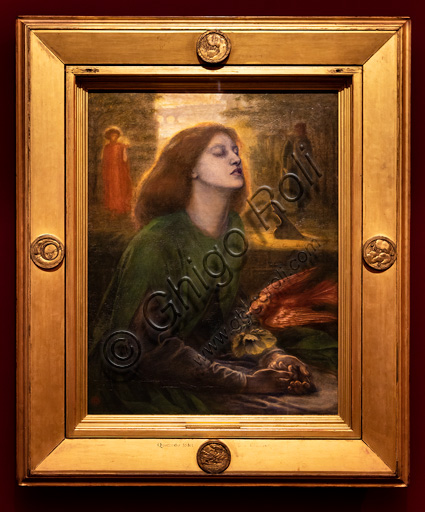 """""""Beata Beatrix"""", (1864 -70)  by Dante Gabriel Rossetti (1828-1882); oil painting on canvas.The red head of hair is beautiful. The model is Elizabeth Siddal."""