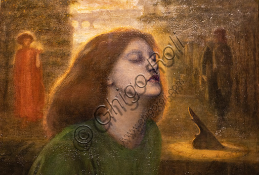 """""""Beata Beatrix"""", (1864 -70)  by Dante Gabriel Rossetti (1828-1882); oil painting on canvas.The red head of hair is beautiful. The model is Elizabeth Siddal. Detail."""