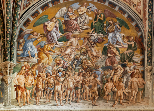 """Orvieto,  Basilica Cathedral of Santa Maria Assunta (or Duomo), the interior, Chapel Nova or St. Brizio Chapel, the lunette of the east wall: """"The Blessed in Heaven"""", fresco by Luca Signorelli, (1500 - 1502)."""