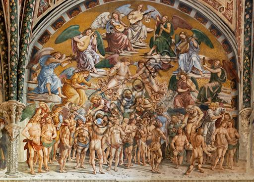"""Orvieto, Basilica Cattedrale di Santa Maria Assunta (o Duomo), interno, Cappella Nova o di San Brizio, lunetta della parete est: """"I Beati in Paradiso"""", affresco di Luca Signorelli, (1500 - 1502)."""
