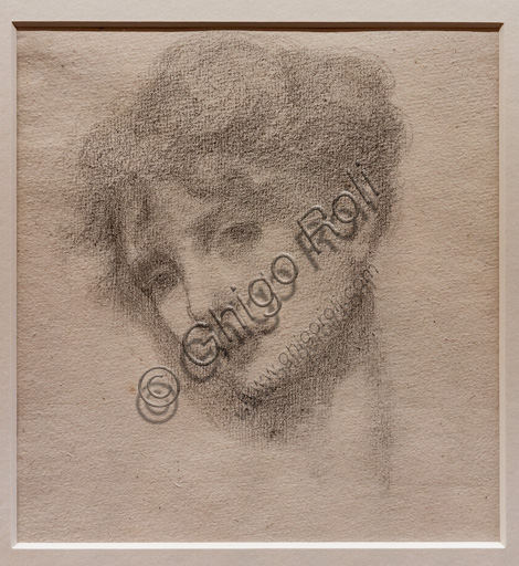 """Study of a Sleeping Woman's Head (possibly for """"the Rose Bower"""" in the """"Briar Rose"""" series), (1871-3) by Edward Coley Burne - Jones  (1833 - 1898); graphite on paper."""