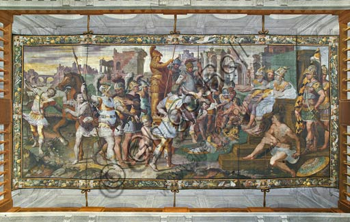 """Bergamo, Palazzo della Prefettura: the vault of the Salone di Ulisse. Frescoes (detached from the Villa Lanzi in Gorlago in 1869) by G. B. Castello known as """"Il Bergamasco"""". This fundamental cycle in the panorama of Lombard Mannerist painting was carried out between 1551 and 1556 and depicts enterprises of Ulysses.At the center of the vault Ulysses and Ajax compete for the armor of Achilles in front of the judges."""