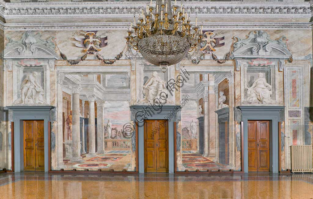 "Genoa, Villa Pallavicino delle Peschiere,  the hall: view of the Southern wall with architectonical perspectives and landscapes. Frescoes by Giovanni Battista Castello, known as ""il Bergamasco"", about 1560."